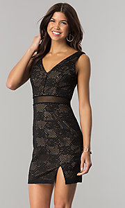 Image of short black lace party dress with sheer waist. Style: CT-3000UG2BT3 Front Image