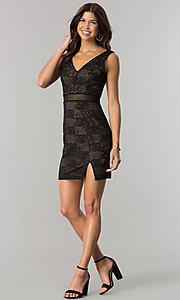 Image of short black lace party dress with sheer waist. Style: CT-3000UG2BT3 Detail Image 1