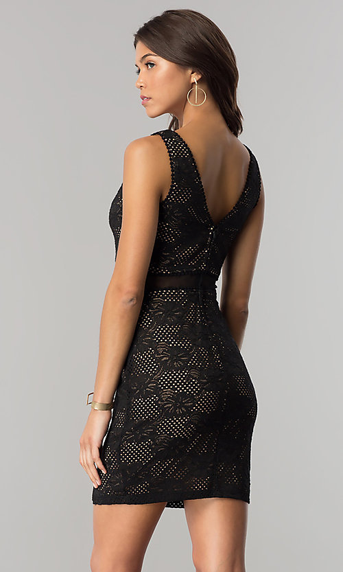 Image of short black lace party dress with sheer waist. Style: CT-3000UG2BT3 Back Image