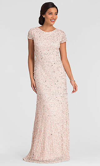 Long Formal Blush Pink Sequin Beaded MOB Dress