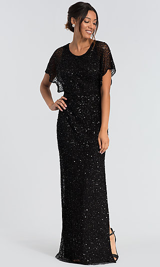 Formal Long Black Sequin Mother-of-the-Bride Dress