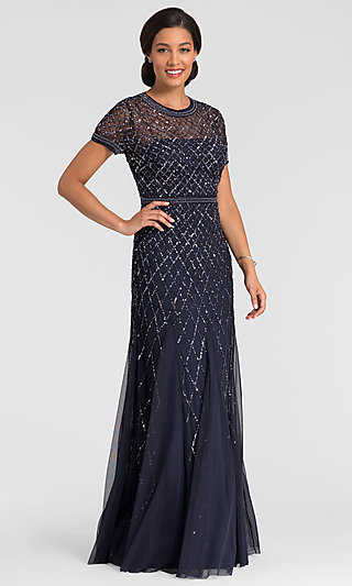 Short Sleeve Navy Blue Formal MOB Dress