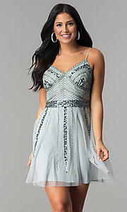 Image of short blue tulle homecoming dress with sequins. Style: JU-10393i Front Image
