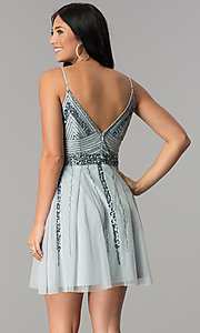 Image of short blue tulle homecoming dress with sequins. Style: JU-10393i Back Image