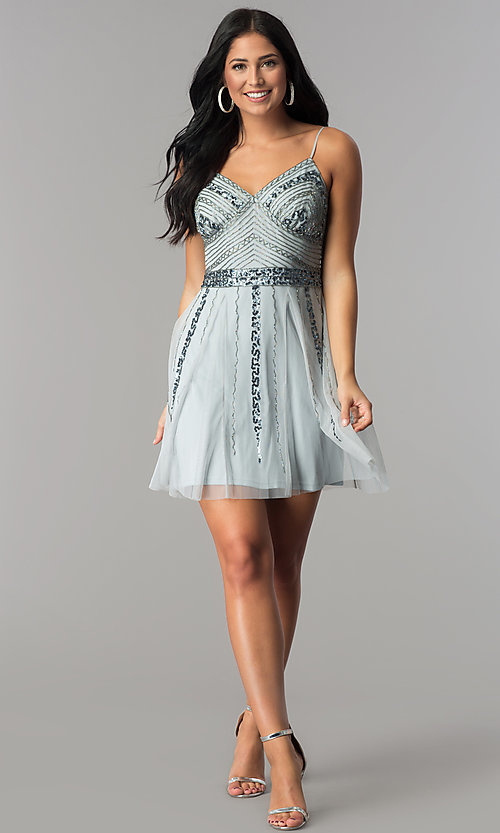 Image of short blue tulle homecoming dress with sequins. Style: JU-10393i Detail Image 2