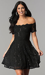 Image of off-the-shoulder sequin-lace short homecoming dress. Style: JU-10386 Detail Image 2