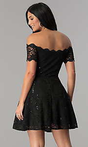 Image of off-the-shoulder sequin-lace short homecoming dress. Style: JU-10386 Back Image