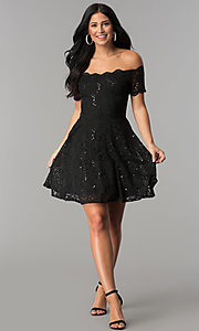 Image of off-the-shoulder sequin-lace short homecoming dress. Style: JU-10386 Detail Image 3