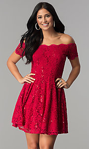 Image of off-the-shoulder sequin-lace short homecoming dress. Style: JU-10386 Front Image