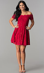 Image of off-the-shoulder sequin-lace short homecoming dress. Style: JU-10386 Detail Image 1