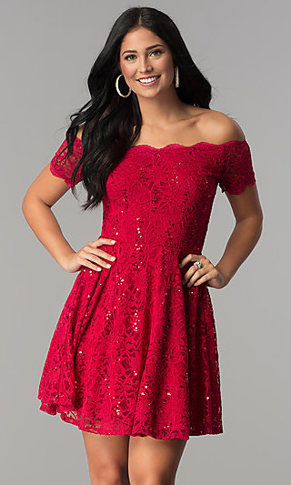 Off-the-Shoulder Sequin-Lace Short Homecoming Dress