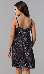 Image of short velvet-print black casual shift party dress.  Style: AS-A770904A64 Back Image