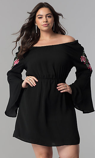 Bell-Sleeved Off-the-Shoulder Casual Dress
