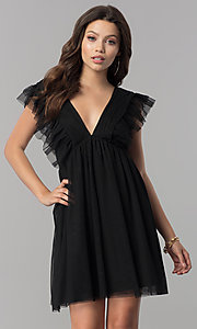 Image of empire-waist short black holiday party dress with ruffles. Style: AS-L3734445 Front Image