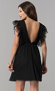 Image of empire-waist short black holiday party dress with ruffles. Style: AS-L3734445 Back Image