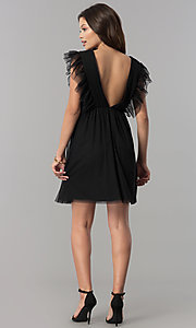 Image of empire-waist short black holiday party dress with ruffles. Style: AS-L3734445 Detail Image 2