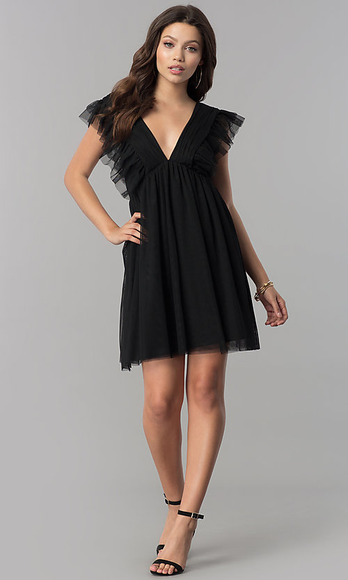 Image of empire-waist short black holiday party dress with ruffles. Style: AS-L3734445 Detail Image 1
