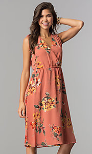 Image of mauve and sage short floral-print casual party dress. Style: AS-I7421D95C99 Front Image