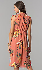 Image of mauve and sage short floral-print casual party dress. Style: AS-I7421D95C99 Back Image