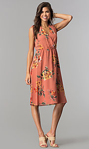 Image of mauve and sage short floral-print casual party dress. Style: AS-I7421D95C99 Detail Image 1