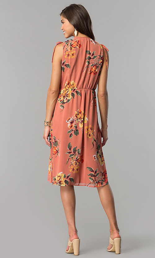 Image of mauve and sage short floral-print casual party dress. Style: AS-I7421D95C99 Detail Image 2