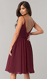 Image of sangria red short chiffon wedding-guest party dress. Style: NM-BM-1503S Back Image