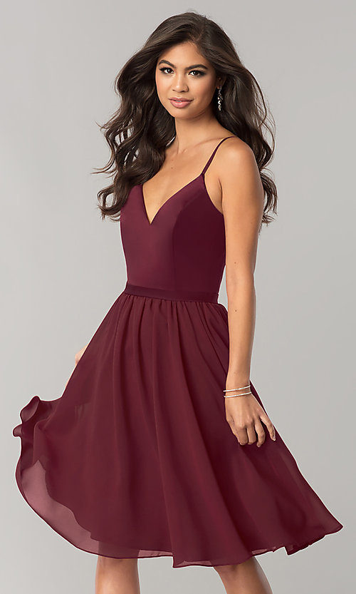 Image of sangria red short chiffon wedding-guest party dress. Style: NM-BM-1503S Front Image