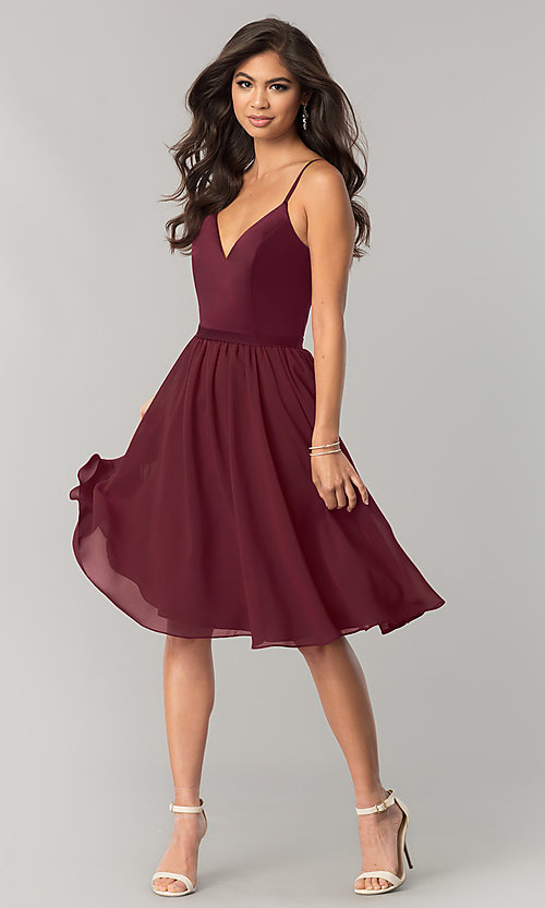 Image of sangria red short chiffon wedding-guest party dress. Style: NM-BM-1503S Detail Image 1