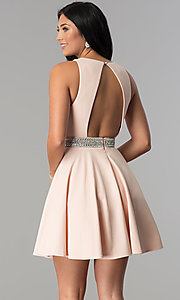 Image of rhinestone-waist short party dress in blush pink.  Style: DMO-J318007 Back Image