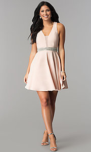 Image of rhinestone-waist short party dress in blush pink.  Style: DMO-J318007 Detail Image 3
