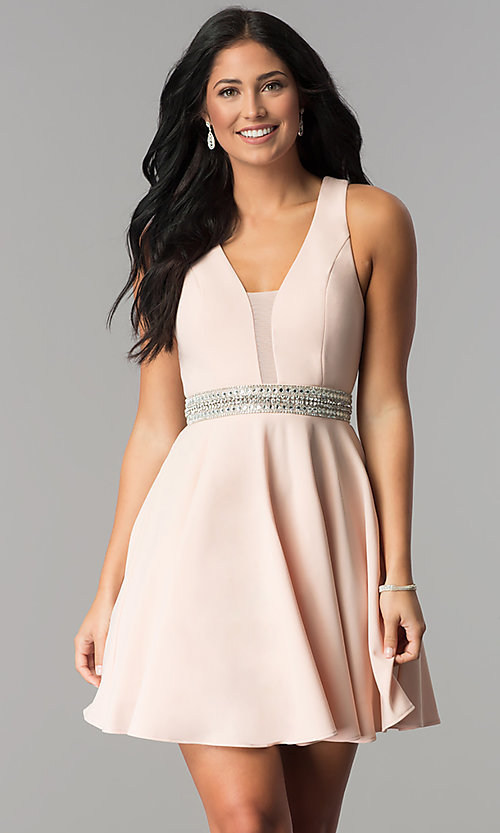 Image of rhinestone-waist short party dress in blush pink.  Style: DMO-J318007 Front Image