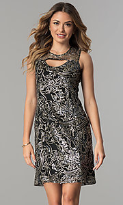 Image of sequined-mesh short shift wedding-guest party dress. Style: SD-S278743 Detail Image 1