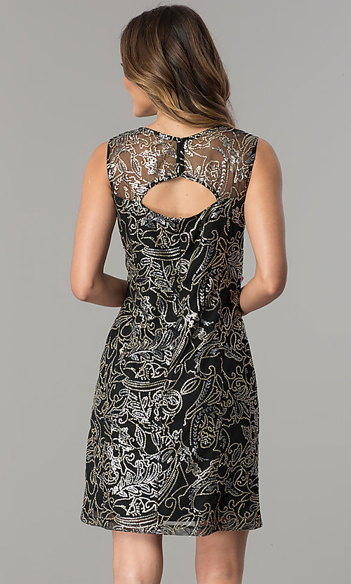 Image of sequined-mesh short shift wedding-guest party dress. Style: SD-S278743 Back Image