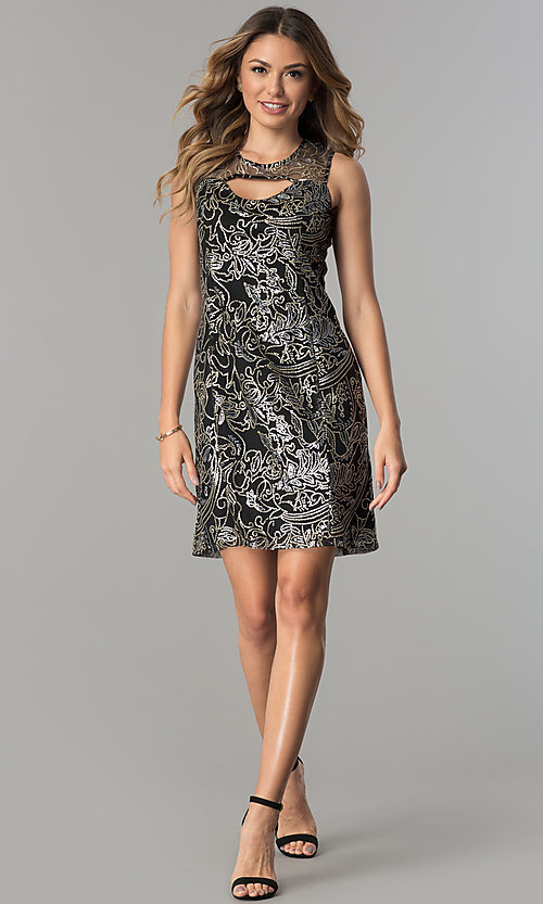 Image of sequined-mesh short shift wedding-guest party dress. Style: SD-S278743 Detail Image 3