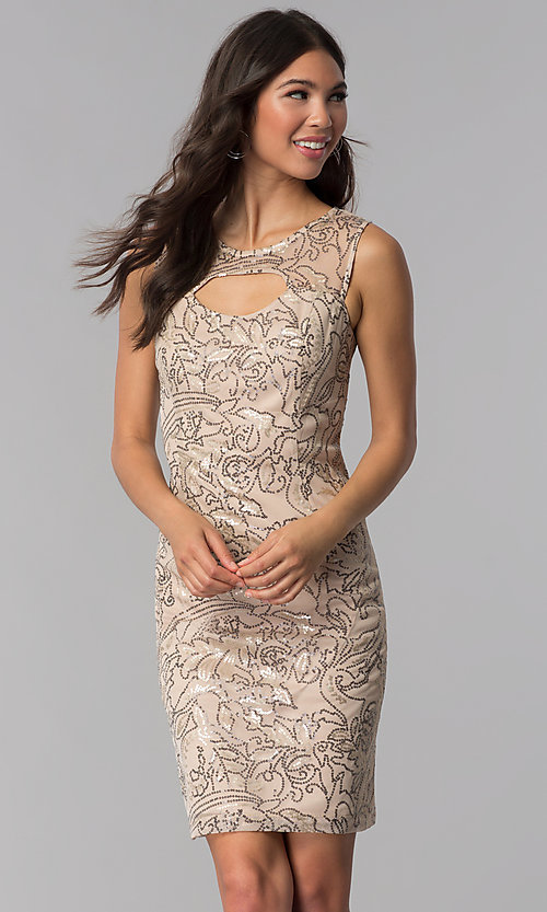 Image of sequined-mesh short shift wedding-guest party dress. Style: SD-S278743 Front Image