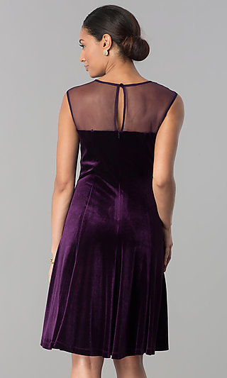 Eggplant Purple Short Velvet Wedding Guest Dress .