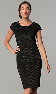 Image of short black glitter-velvet cocktail party dress. Style: SD-S278163 Front Image