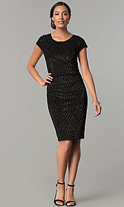 Image of short black glitter-velvet cocktail party dress. Style: SD-S278163 Detail Image 2