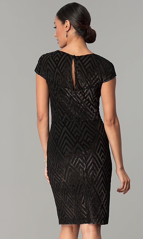 Image of short black glitter-velvet cocktail party dress. Style: SD-S278163 Back Image
