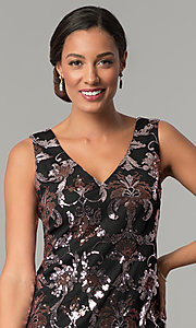 Image of black short wedding-guest party dress with sequins. Style: SD-S285180 Detail Image 1