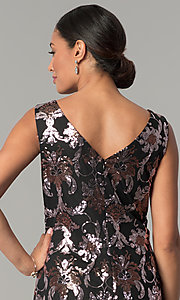 Image of black short wedding-guest party dress with sequins. Style: SD-S285180 Detail Image 2