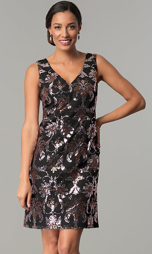Image of black short wedding-guest party dress with sequins. Style: SD-S285180 Front Image