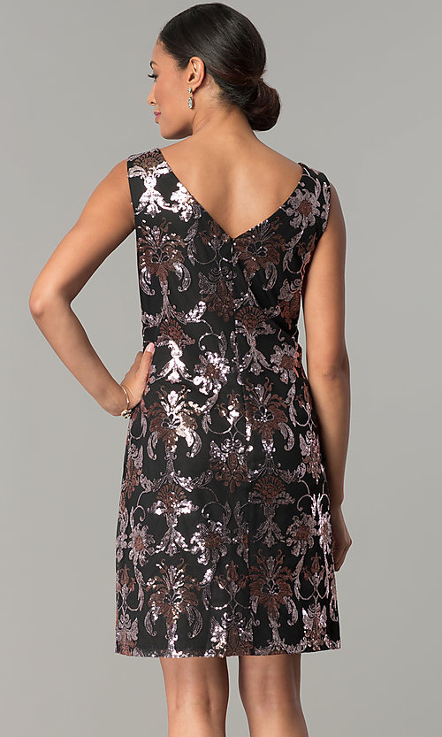 Image of black short wedding-guest party dress with sequins. Style: SD-S285180 Back Image