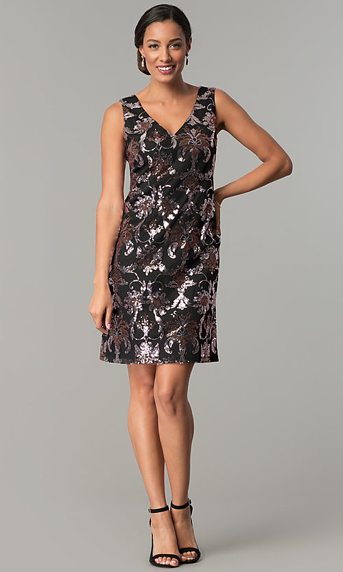 Image of black short wedding-guest party dress with sequins. Style: SD-S285180 Detail Image 3