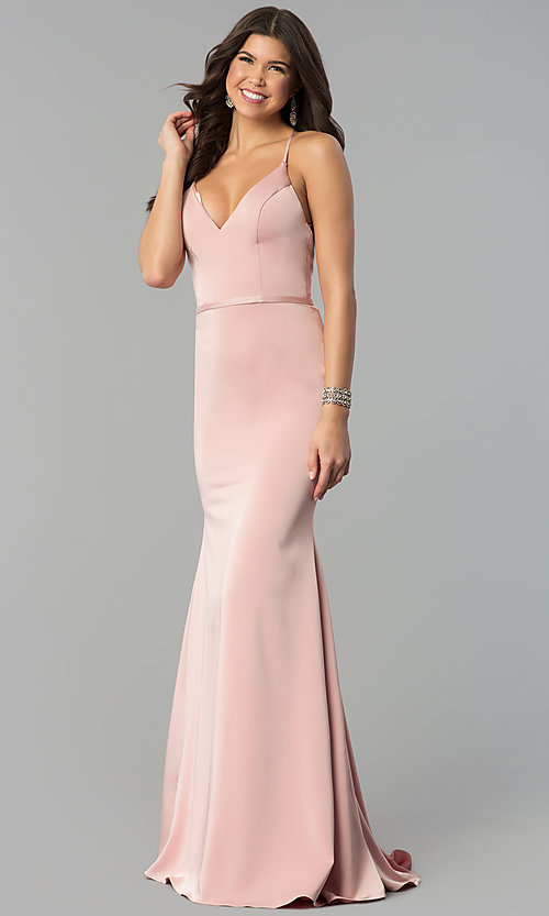 dd96b2250dd Image of open-back long v-neck prom dress from JVN by Jovani.