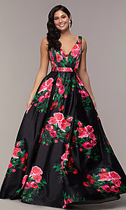 Image of long deep-v-neck a-line floral-print formal dress. Style: JO-JVN-JVN59146 Detail Image 2