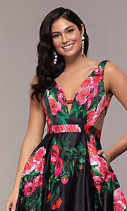 Image of long deep-v-neck a-line floral-print formal dress. Style: JO-JVN-JVN59146 Detail Image 4