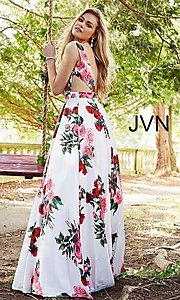 Image of long deep-v-neck a-line floral-print formal dress. Style: JO-JVN-JVN59146 Back Image