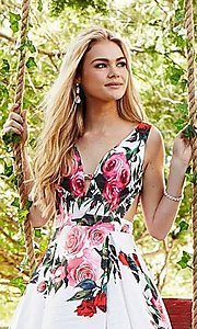 Image of long deep-v-neck a-line floral-print formal dress. Style: JO-JVN-JVN59146 Detail Image 1