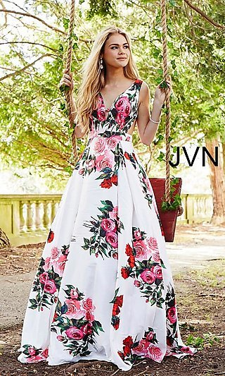 Long Deep-V-Neck A-Line Floral-Print Formal Dress